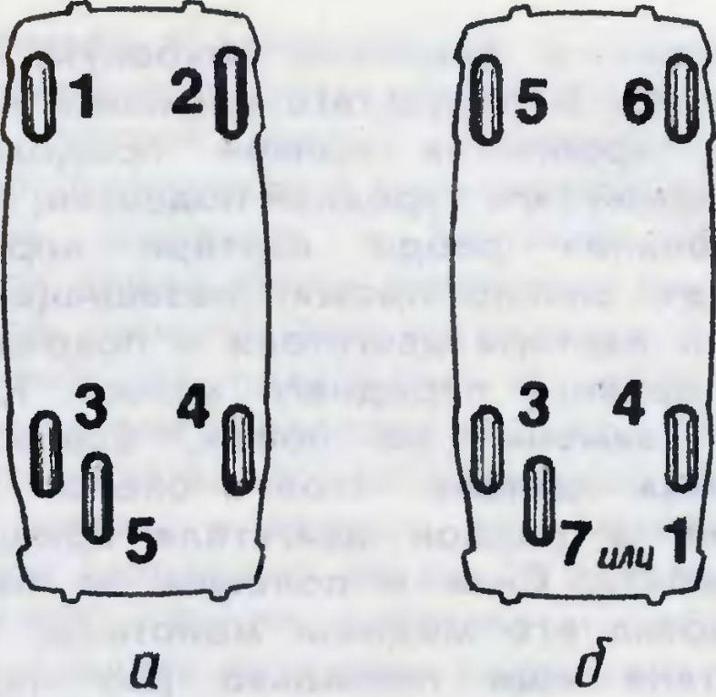 Рис. 2. Схемы перестановки колес на переднеприводных автомобилях: а - новый комплект; б - перестановка с...